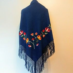 Large Floral Embroidered Shawl